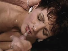 Mature has anal on billiard tadle and gets facial