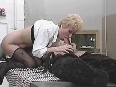 Blonde mature does hot blowjob with big pleasure